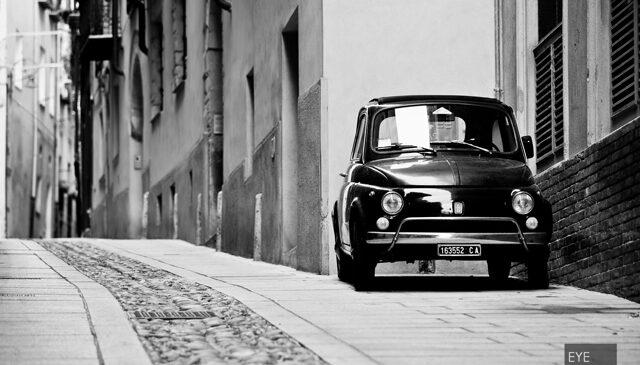 Fiat 500 Fotos in der Altstadt von Cagliari