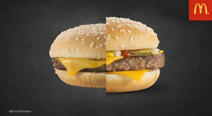 Dieses Food Foto eines Fotografen zeigt den direkten Vergleich eines Burgers aus der Filiale und einem perfekten Food Foto Burgers